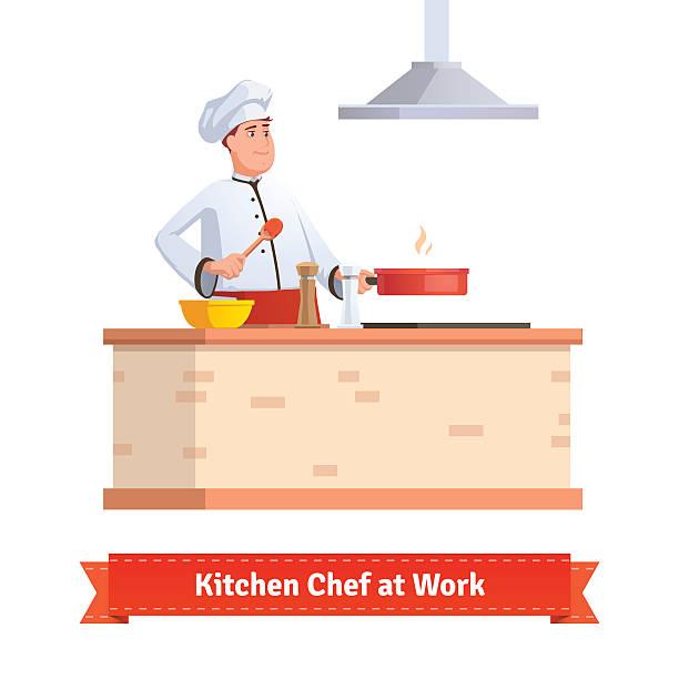 bildbanksillustrationer, clip art samt tecknat material och ikoner med chef cooking food - arbeta köksbord man