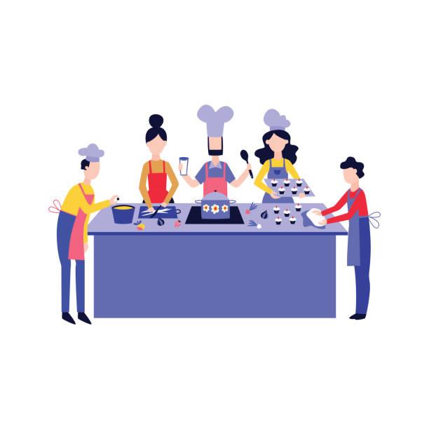bildbanksillustrationer, clip art samt tecknat material och ikoner med matlagning mat med team på köks bordet platt tecknad stil - arbeta köksbord man