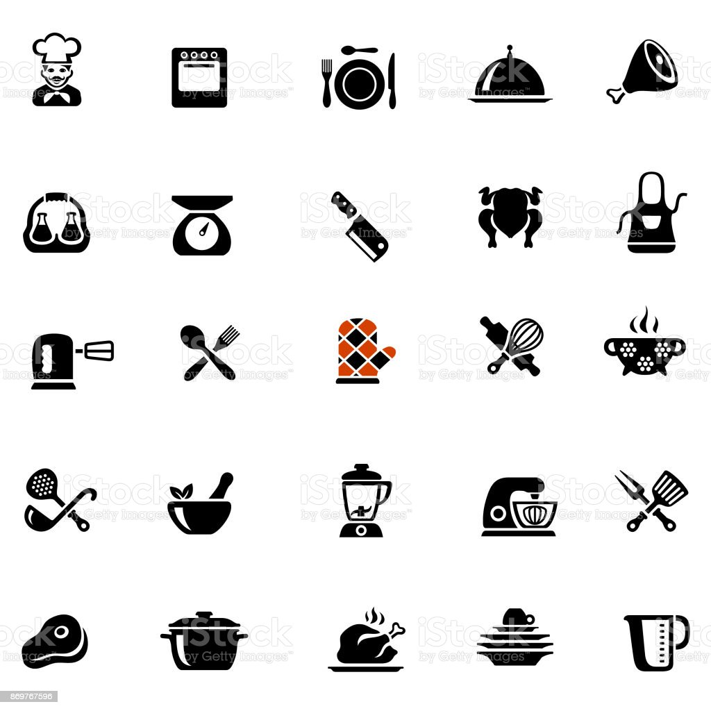 Chef Cooking Icons vector art illustration