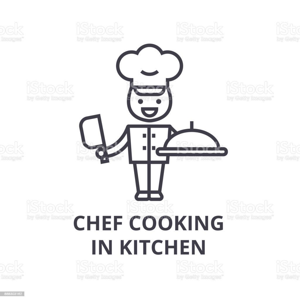 Chef Cooking In Kitchen Line Icon Outline Sign Linear Symbol Vector ...