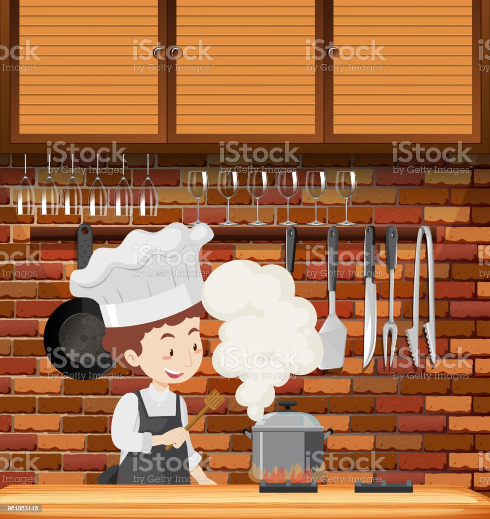 A Chef Cooking in Kitchen - Royalty-free Adult stock vector