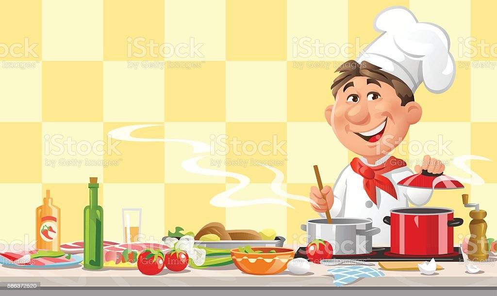 Chef Cooking In The Kitchen vector art illustration