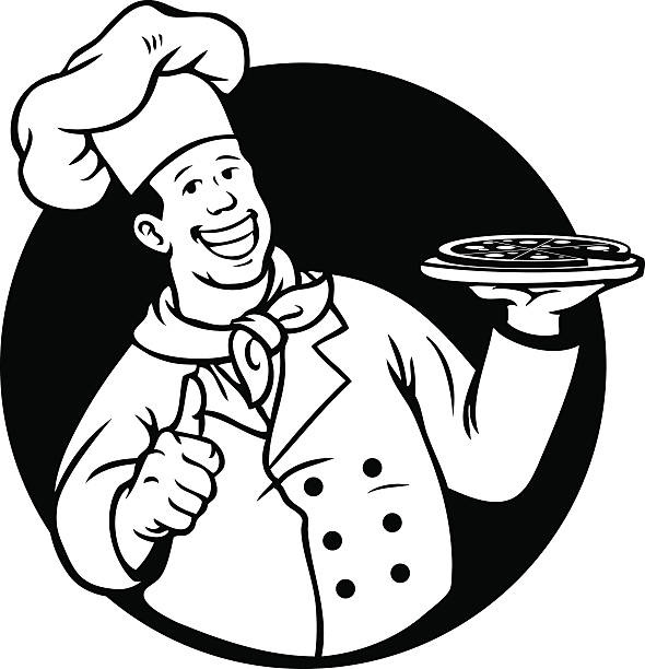 chef cooking pizza black white - old man showing thumbs up cartoons stock illustrations, clip art, cartoons, & icons