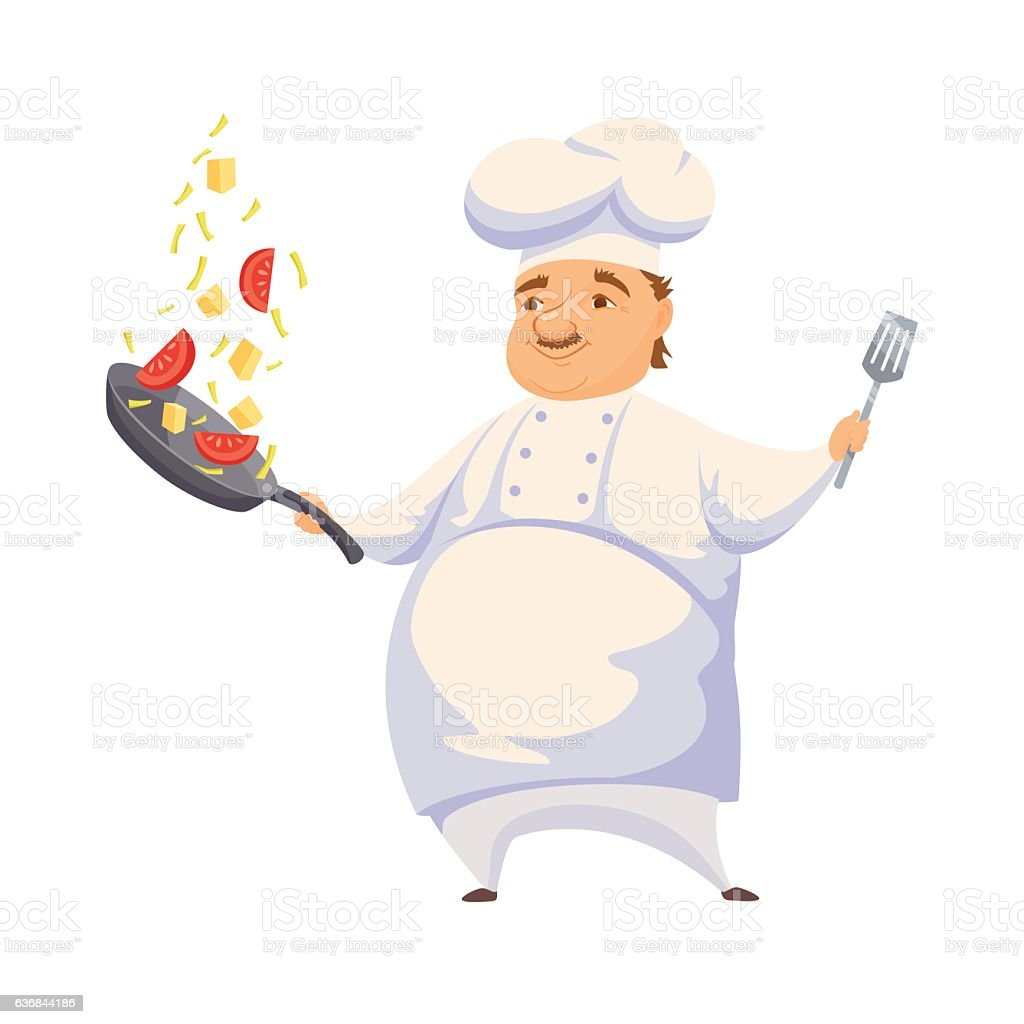 Chef cooking sauce vector art illustration