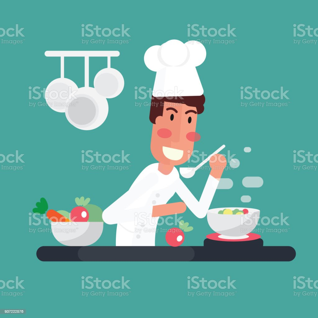 Chef Cooking The Soup In Kitchen Stock Vector Art & More Images of ...