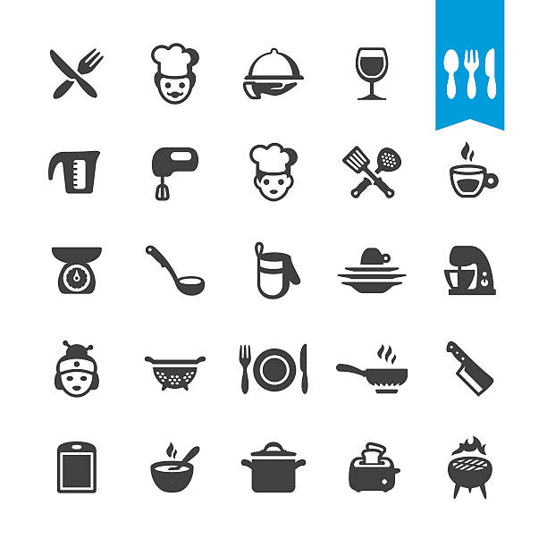stockillustraties, clipart, cartoons en iconen met chef cooking vector icons - bord serviesgoed