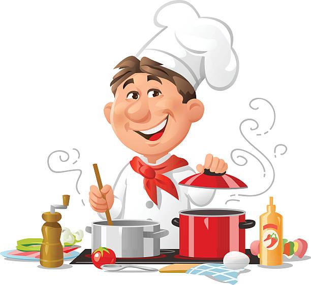 ilustrações de stock, clip art, desenhos animados e ícones de chefe de cozinha - cooker happy