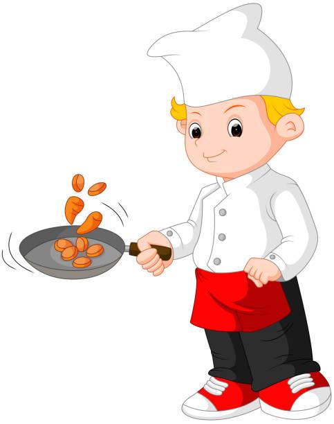 ilustraciones, imágenes clip art, dibujos animados e iconos de stock de chef de cocina - busy restaurant kitchen