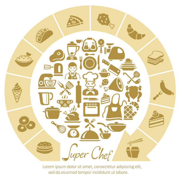 シェフの料理 - 高級料理点のイラスト素材/クリップアート素材/マンガ素材/アイコン素材