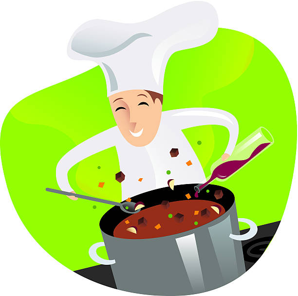 chef cooking - busy restaurant kitchen stock illustrations