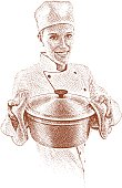 Etching illustration of happy chef cooking with large pot.