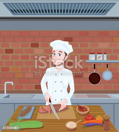 istock Chef cutting food 472324901