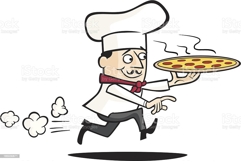Chef Delivering a Pizza royalty-free stock vector art