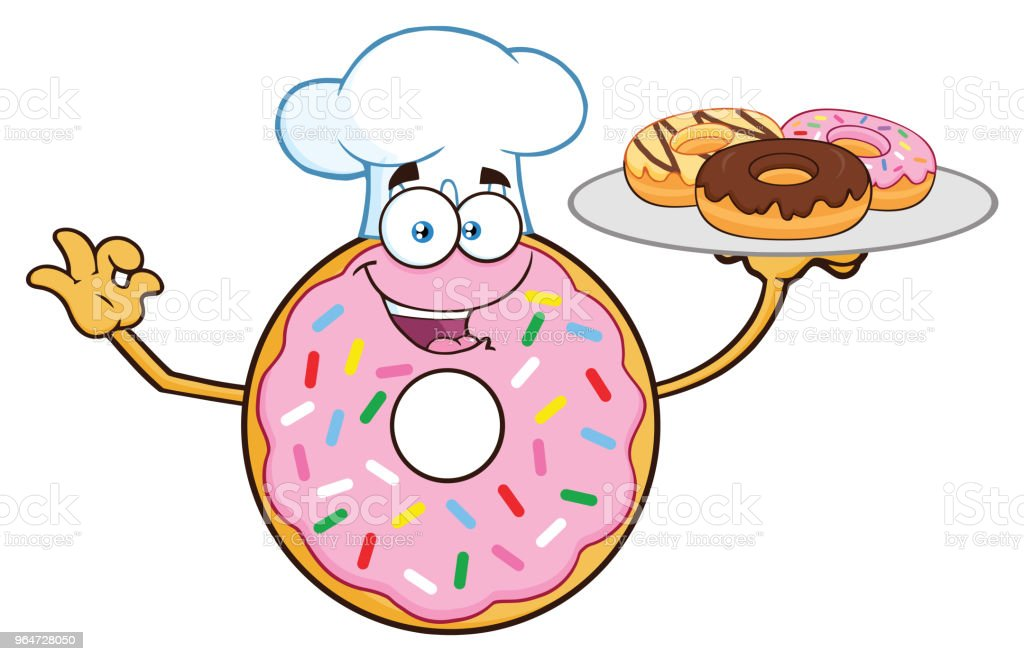 Chef Donut Cartoon Mascot Character Serving Donuts royalty-free chef donut cartoon mascot character serving donuts stock vector art & more images of breakfast