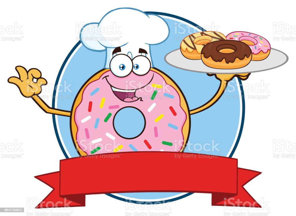 Chef Donut Cartoon Mascot Character With Sprinkles Circle Label Design royalty-free chef donut cartoon mascot character with sprinkles circle label design stock vector art & more images of breakfast