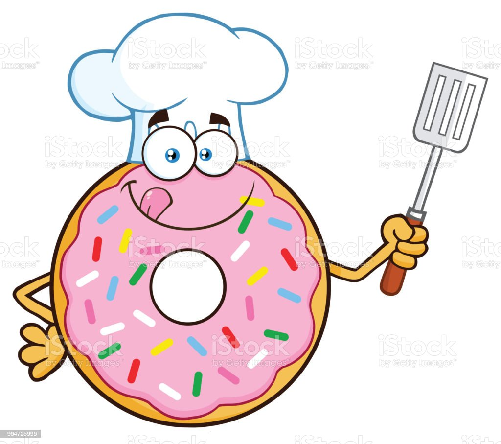 Chef Donut Cartoon Mascot Character With Sprinkles Holding A Slotted Spatula royalty-free chef donut cartoon mascot character with sprinkles holding a slotted spatula stock vector art & more images of breakfast