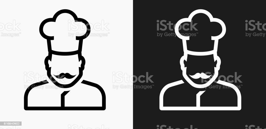黒と白のベクトルの背景のシェフの顔アイコン ベクターアートイラスト