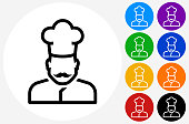 Chef Face Icon on Flat Color Circle Buttons. This 100% royalty free vector illustration features the main icon pictured in black inside a white circle. The alternative color options in blue, green, yellow, red, purple, indigo, orange and black are on the right of the icon and are arranged in two vertical columns.