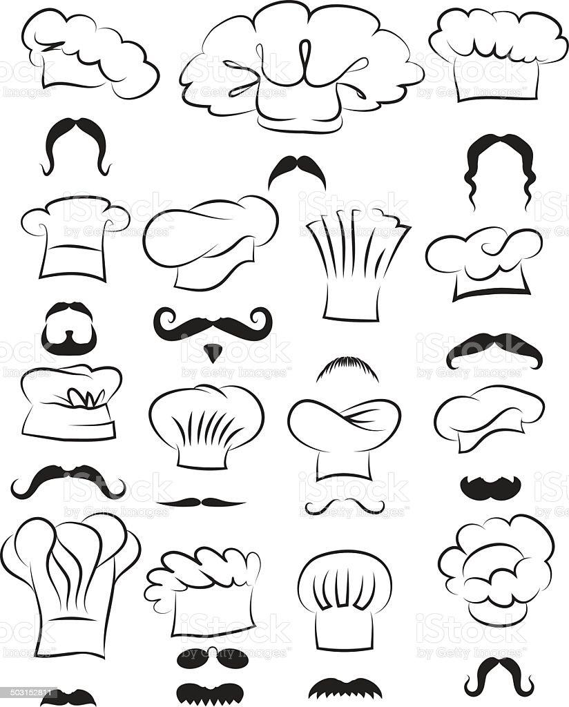 Chef faces vector art illustration