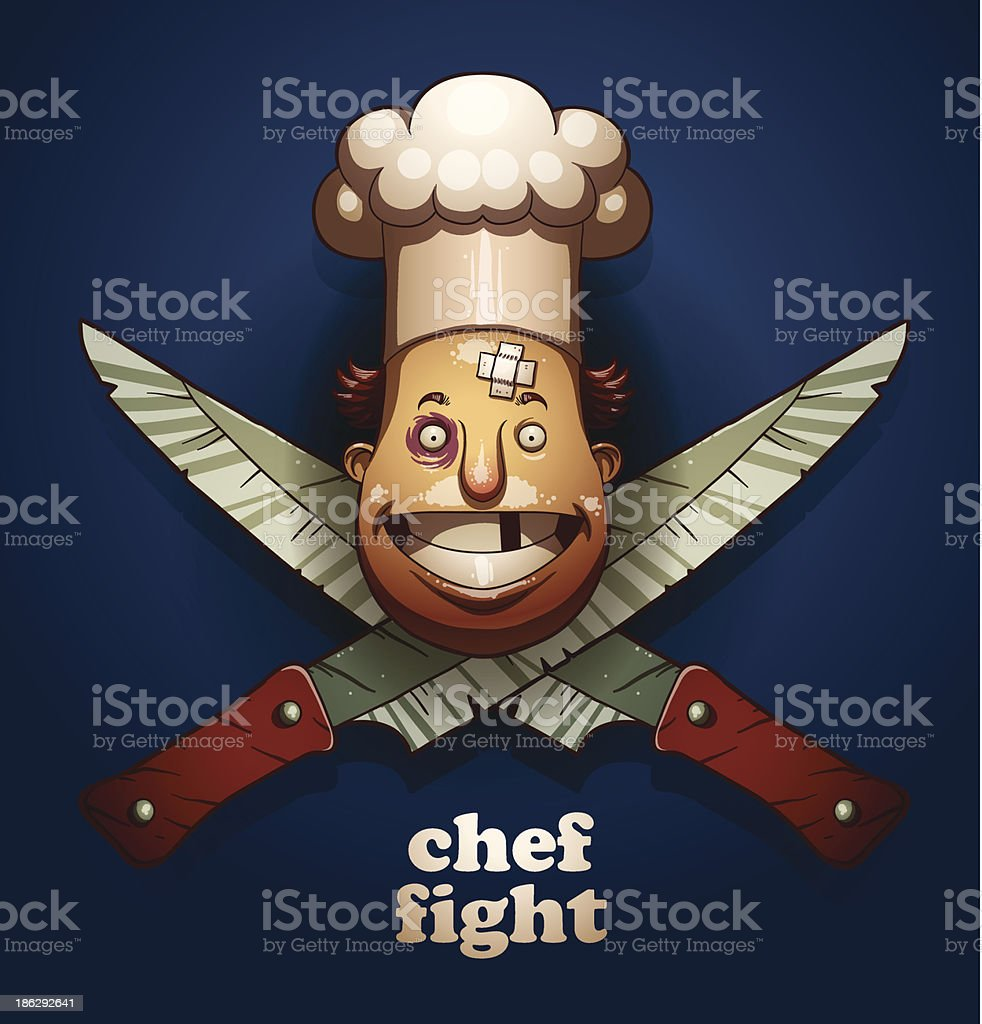 Chef fight color emblem, knifes royalty-free stock vector art