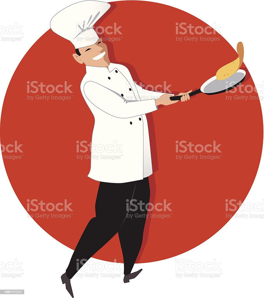 Chef flipping an omelette on a fry-pan royalty-free stock vector art