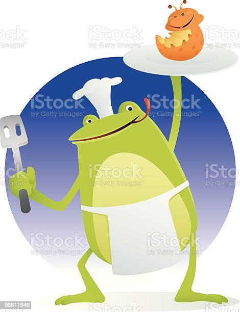 Chef Frog-vektorgrafik och fler bilder på Amfibie