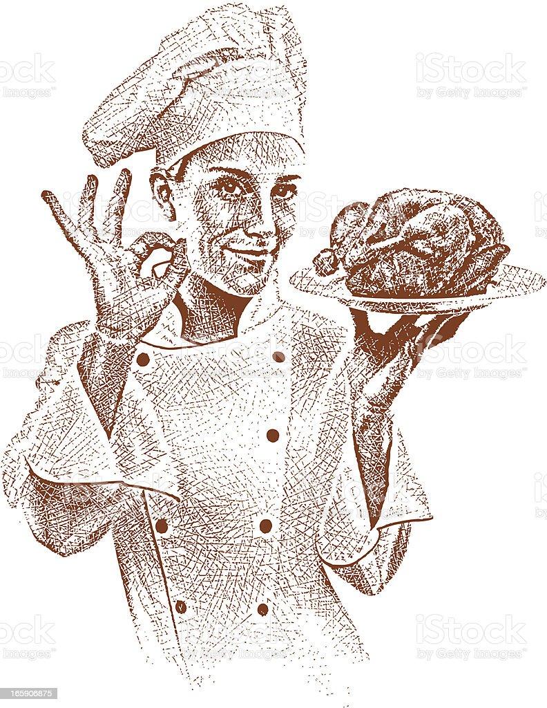 Chef Gesturing OK vector art illustration