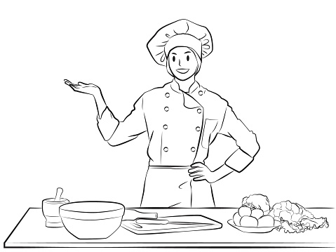 Chef girl pose lineart vector illutration