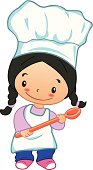Cute chef girl kid with ladle