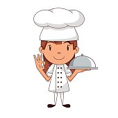 Chef, child, happy cartoon character holding domed catering tray, showing ok hand sing, vector illustration, isolated, white background