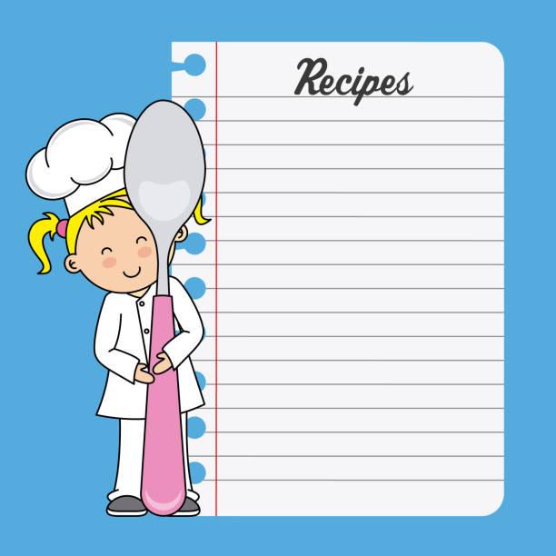 illustrations, cliparts, dessins animés et icônes de fille de chef avec une cuillère et une feuille blanche - cuisine espagnole