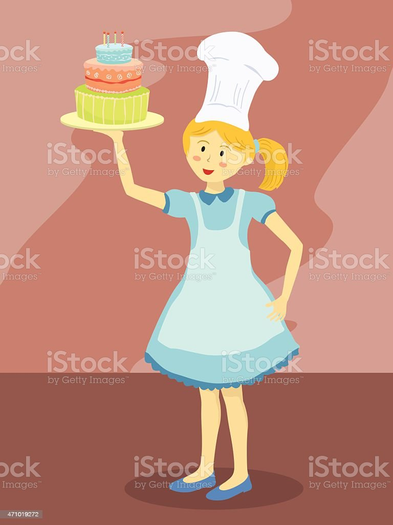 Miraculous Chef Girl With Birthday Cake Stockvectorkunst En Meer Beelden Van Birthday Cards Printable Benkemecafe Filternl