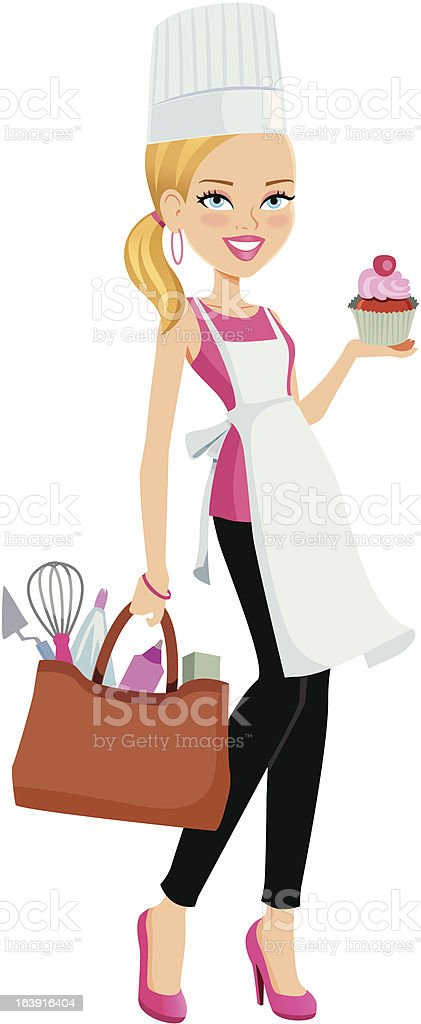 Chef Girl with Cupcake and Baking Utensils vector art illustration