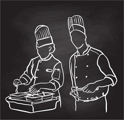 Chef Grilling Steaks Chalkboard