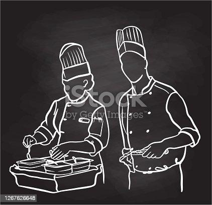 istock Chef Grilling Steaks Chalkboard 1267626648