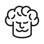 Chef and chef hat line icon. Files included: Vector EPS 10, HD JPEG 4000 x 4000 px