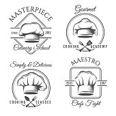 Chef hat label set. Gourmet chef food vector emblems, chefs kitchen workshop or cooking club labels illustration