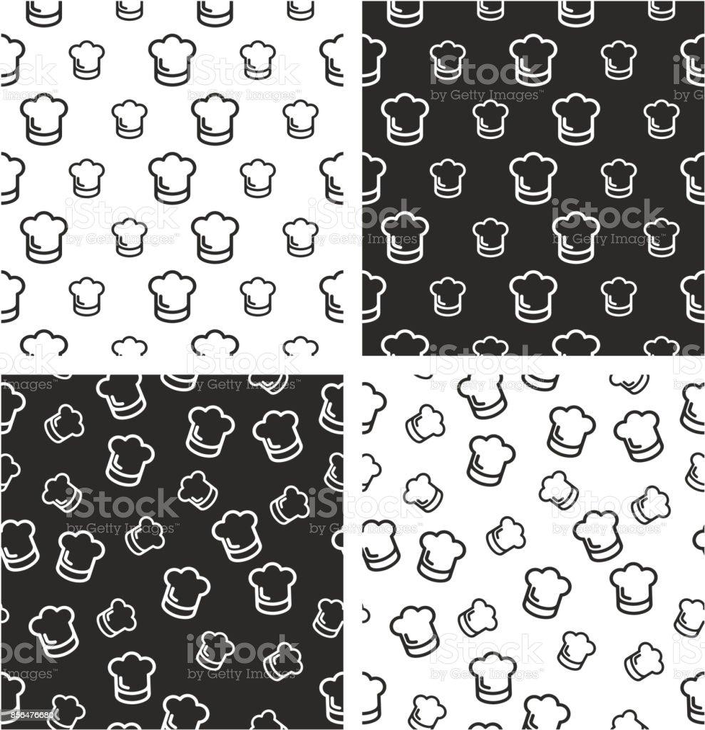cf2939fe629 Chef Hat Big   Small Aligned   Random Seamless Pattern Set - Illustration .