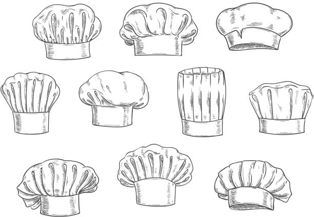 Chef hat, cook cap and toque sketches Sketched chef hat, cook cap and toque. Kitchen staff uniform, professional headwear for restaurant, cafe and menu design chef's hat stock illustrations