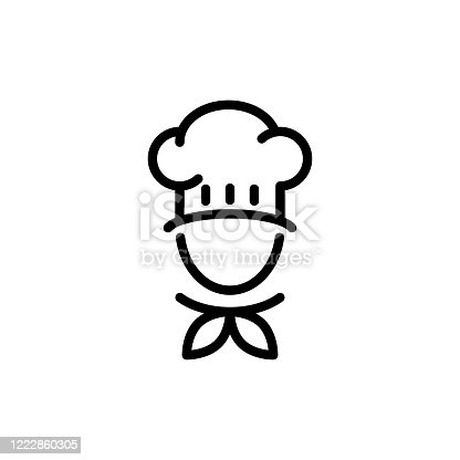 Chef hat icon flat vector simple isolated illustration signage template design trendy
