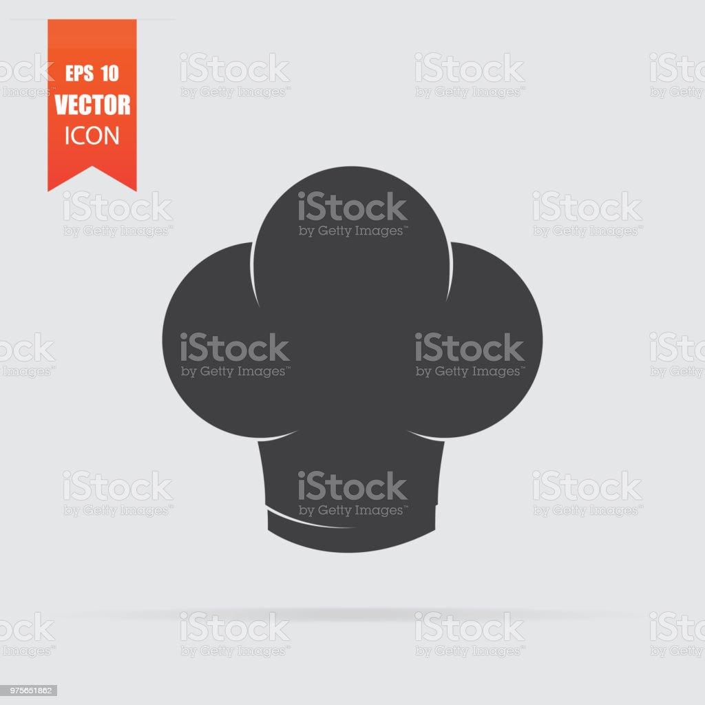 ffbff5e6a2b65 Chef sombrero en icono estilo plano aislado sobre fondo gris. ilustración  de chef sombrero en