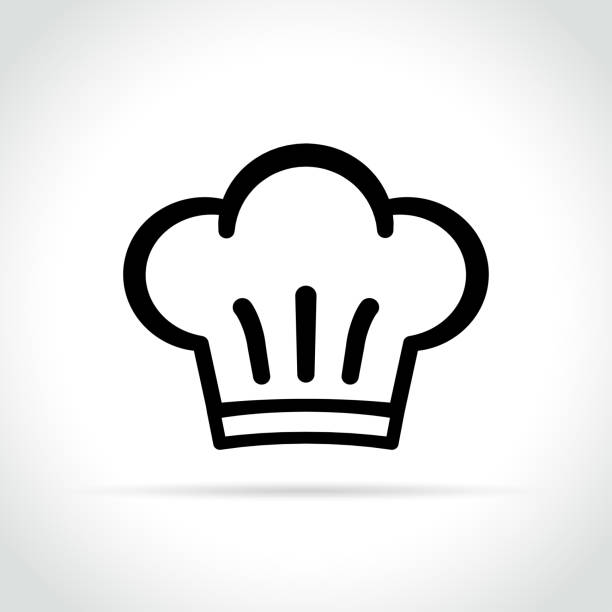 chef hat icon on white background Illustration of chef hat icon on white background chef's hat stock illustrations