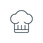 istock chef hat icon vector from kitchen concept. Thin line illustration of chef hat editable stroke. chef hat linear sign for use on web and mobile apps, logo, print media.. 1269952656