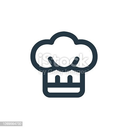istock chef hat icon vector from restaurant concept. Thin line illustration of chef hat editable stroke. chef hat linear sign for use on web and mobile apps, logo, print media.. 1269564732