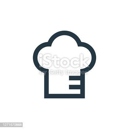 istock chef hat icon vector from restaurant concept. Thin line illustration of chef hat editable stroke. chef hat linear sign for use on web and mobile apps, logo, print media.. 1271570868