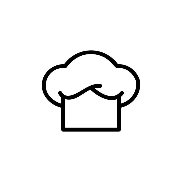 chef hat logo flat icon chef hat logo flat icon chef's hat stock illustrations