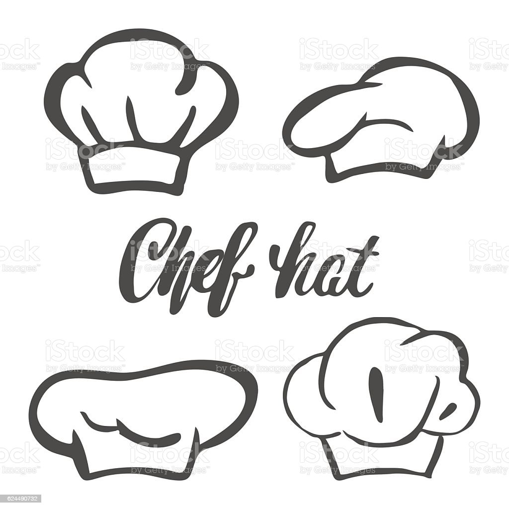 Chef hat silhouette isolated set. Black hat chef vector art illustration