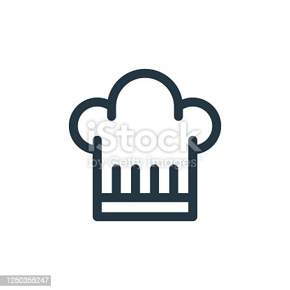 istock chef hat vector icon. chef hat editable stroke. chef hat linear symbol for use on web and mobile apps, logo, print media. Thin line illustration. Vector isolated outline drawing. 1250355247