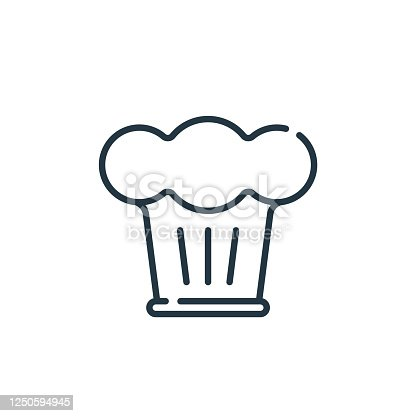 istock chef hat vector icon. chef hat editable stroke. chef hat linear symbol for use on web and mobile apps, logo, print media. Thin line illustration. Vector isolated outline drawing. 1250594945