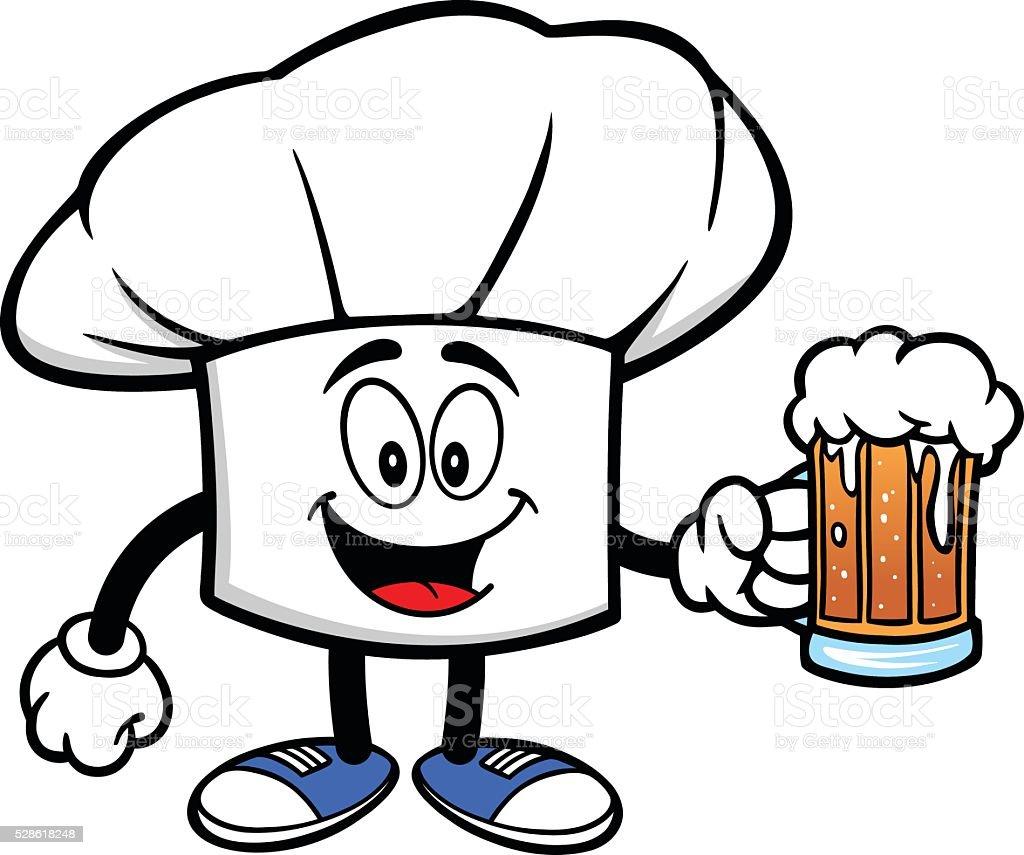Cappello Chef con una birra cappello chef con una birra - immagini  vettoriali stock e altre 1fea10868099
